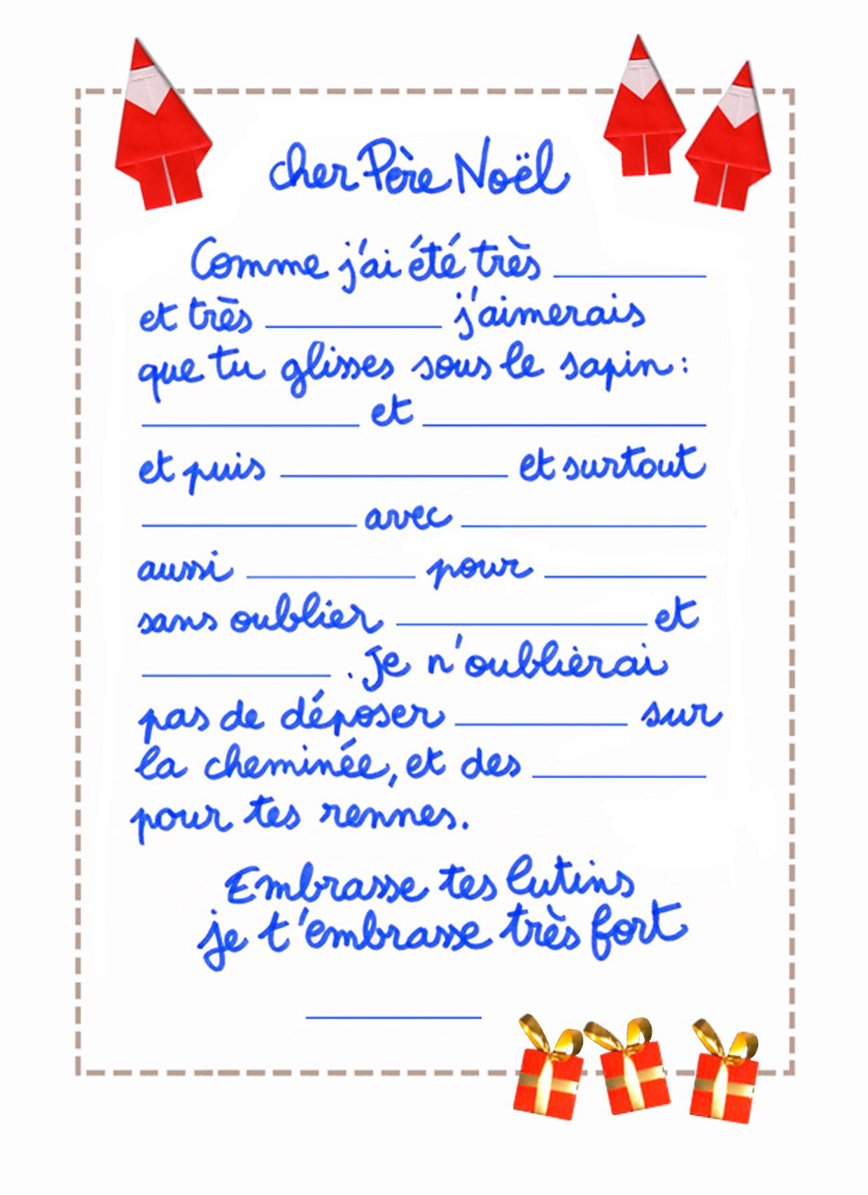 Une Lettre De Pere Noel.Exemple Lettre Pere Noel