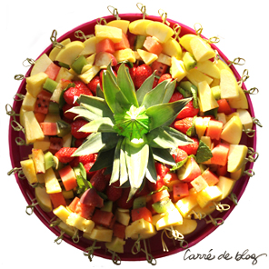 brochettes de fruits plat