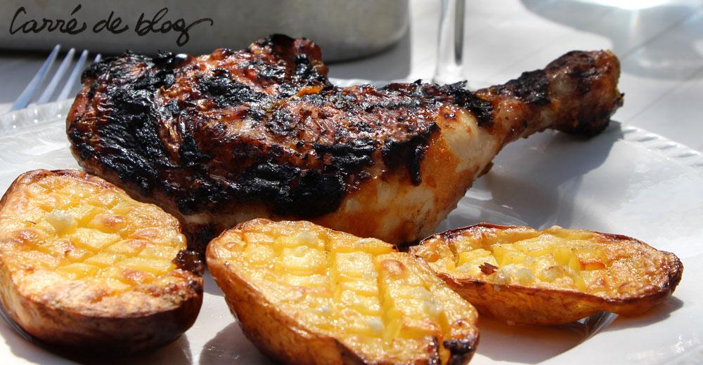 Cuisses de poulet marinées abricots miel et moutarde en grains